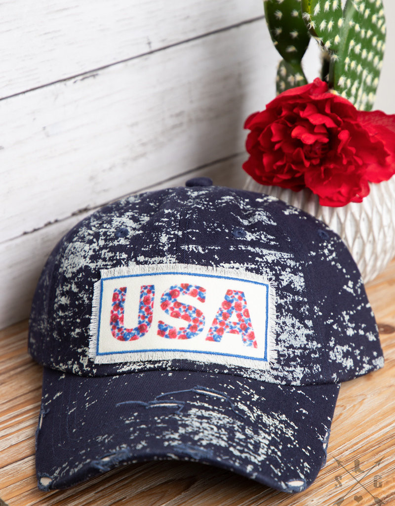 Distressed Floral USA Patch Hat
