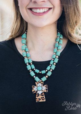 Leopard Cross Pendant on Ivory Necklace