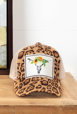 Sunflower Skull on Leopard Hat