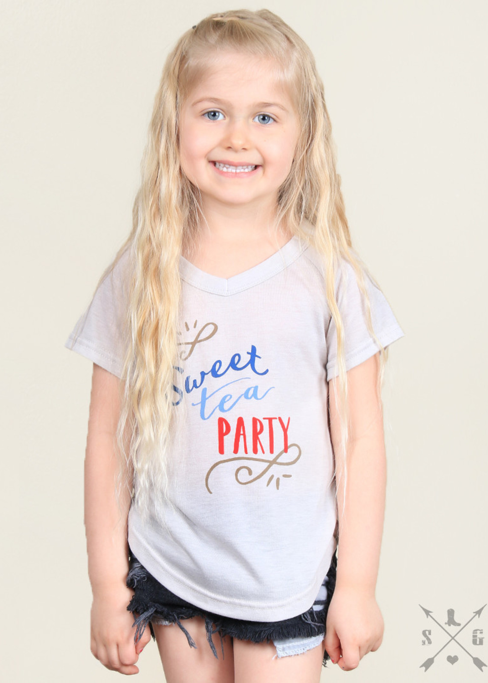 Sweet Tea Party Tee; Girls