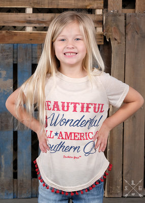 Beautiful, Wonderful, American Southern Tee; Girls