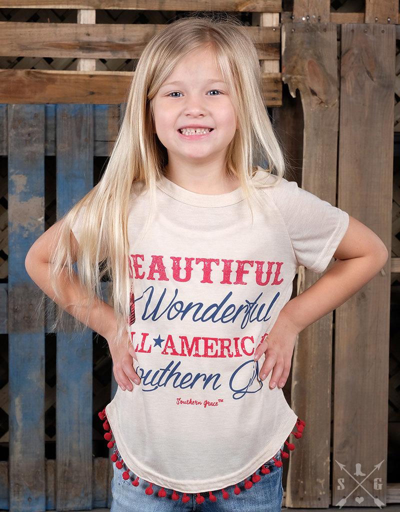Beautiful, Wonderful, American Southern Tee; Girls