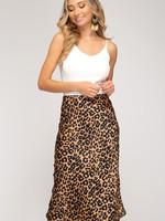 Leopard Print Satin Midi Skirt w/ Elastic Waist & Side Zipper