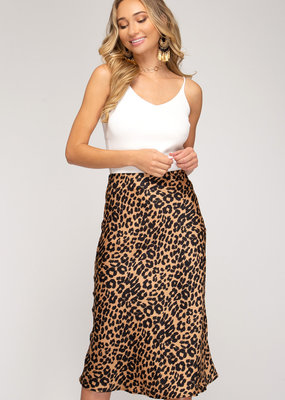 Leopard Print Satin Midi Skirt w/ Elastic Waist & Side Zipper