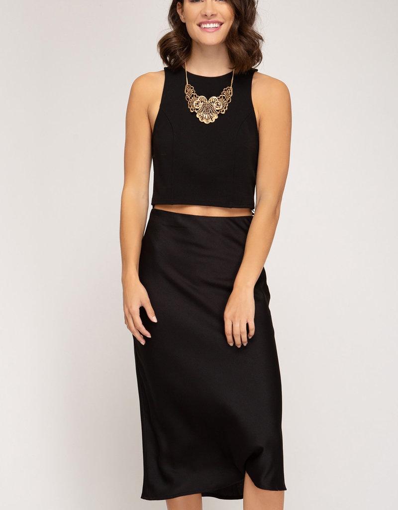 Satin Midi Skirt w/ Zipper