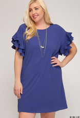 Double Pleated Short Sleeve Shift Dress
