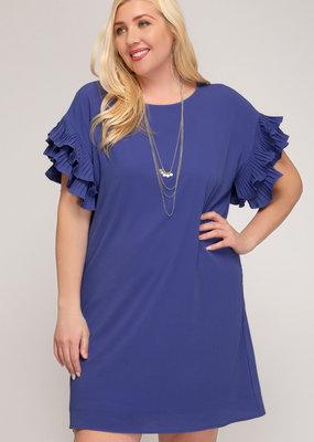 Double Pleated Short Sleeve Shift Dress