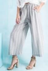 Stripe Linen Pants-Cropped