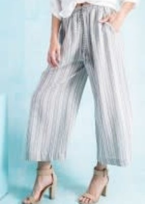 Stripe Linen Pants-Cropped