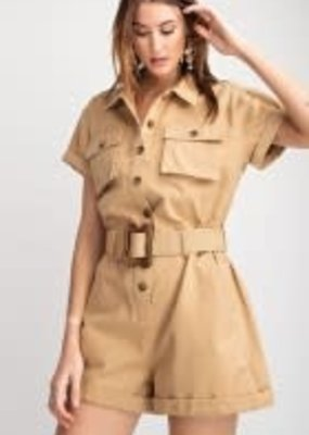 Short Sleeve Safari Looking Romper