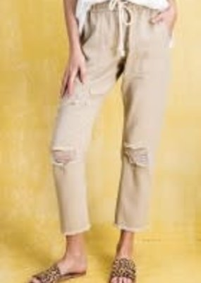 Twill Distressed Roll-Up Tie-Front Pants