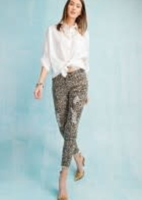 Leopard Print Distressed Crop Pant