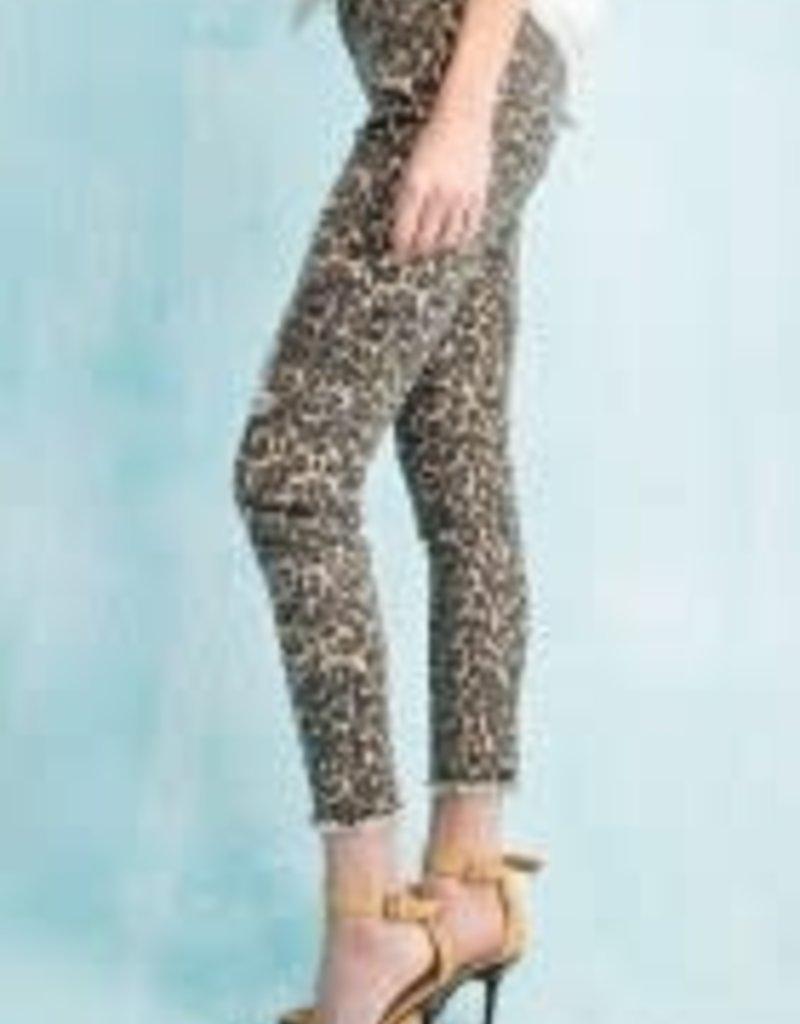 Leopard Print Distressed Crop Pant