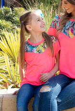 Neon Top with Snake Print; Girls