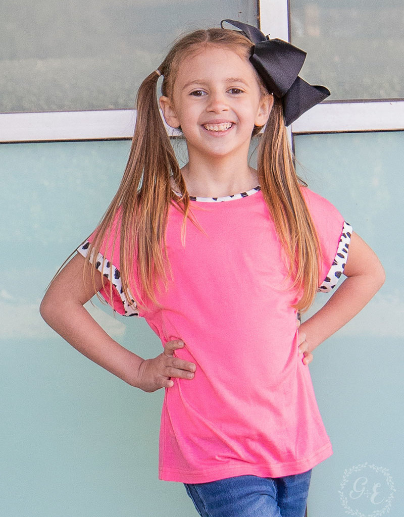 Neon Top w/ Dalmatian Accent and Back Bow; Girls
