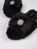 Fuzzy Slippers w/ Embellished Toe
