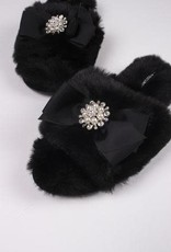 Fuzzy Slippers w/ Embellished Toe