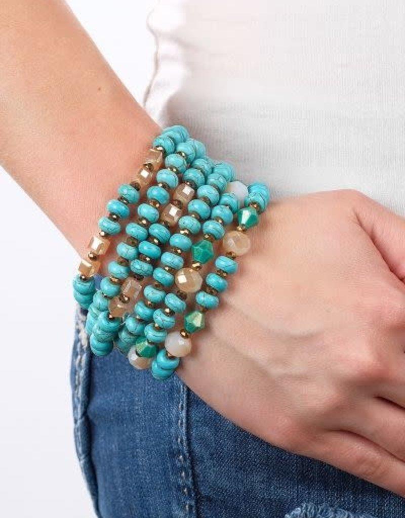 6-Strand Beaded Layered Stretch Bracelet