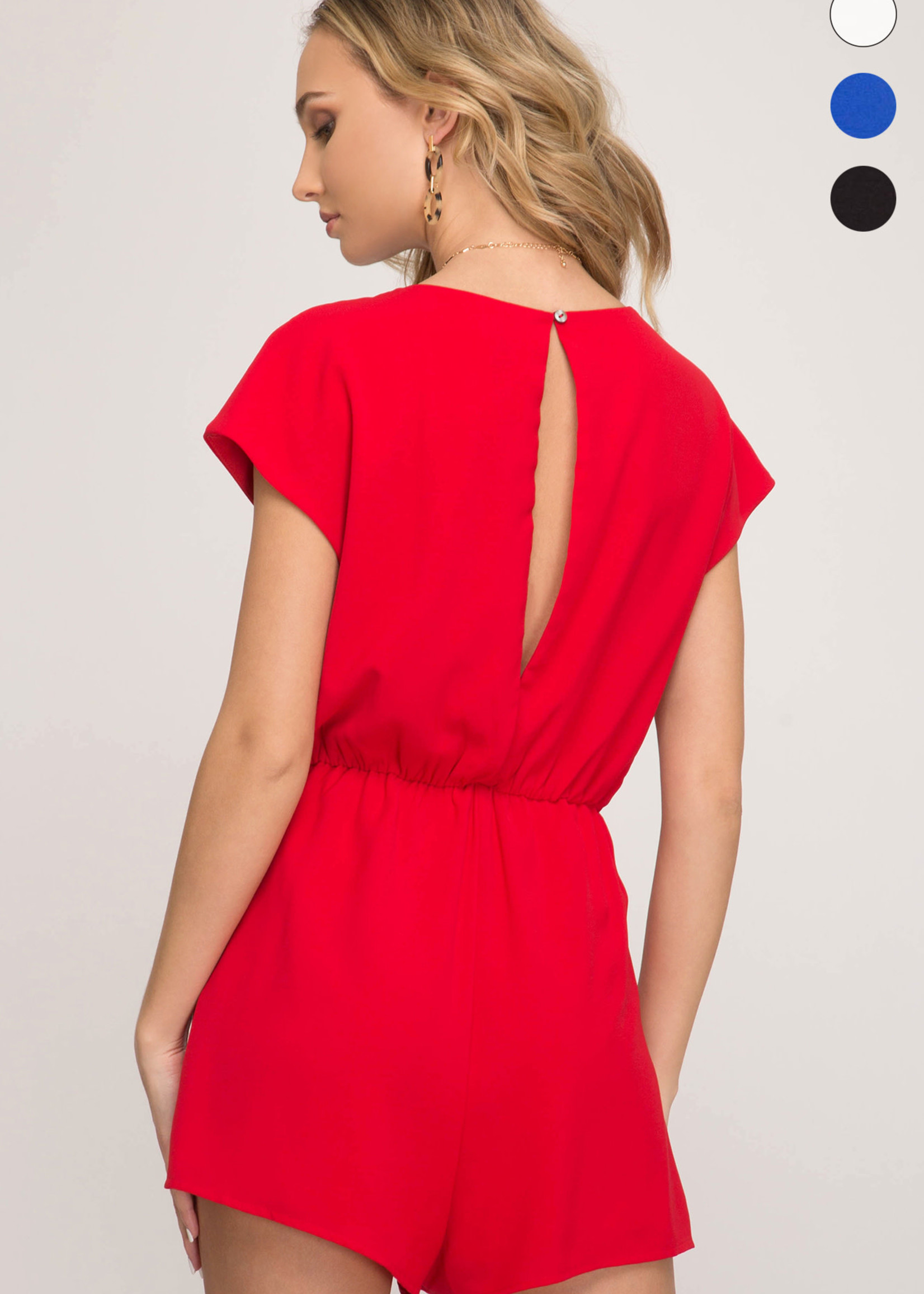 Drop Shoulder Shorts Romper w/ Front Tie