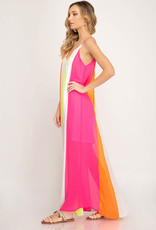 Neon Color Maxi Dress w/ Lining