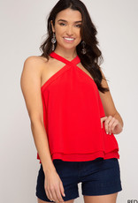 Sleeveless Layered Top w/ Cross Neck Band Detail