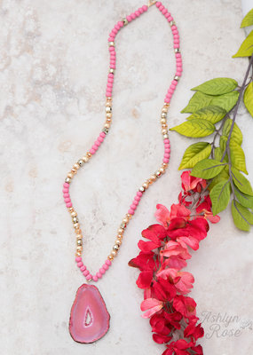 Natural Stone on Beaded Necklace