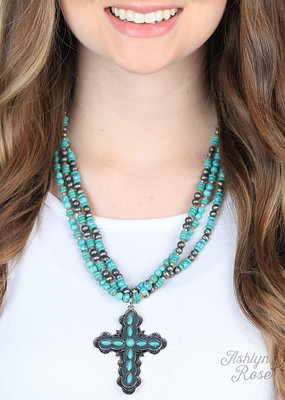 Multi Layered Necklace w/ Cross