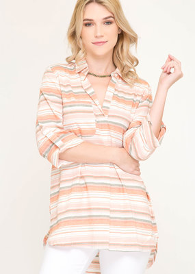 3/4 Sleeve Woven Multi Striped Top