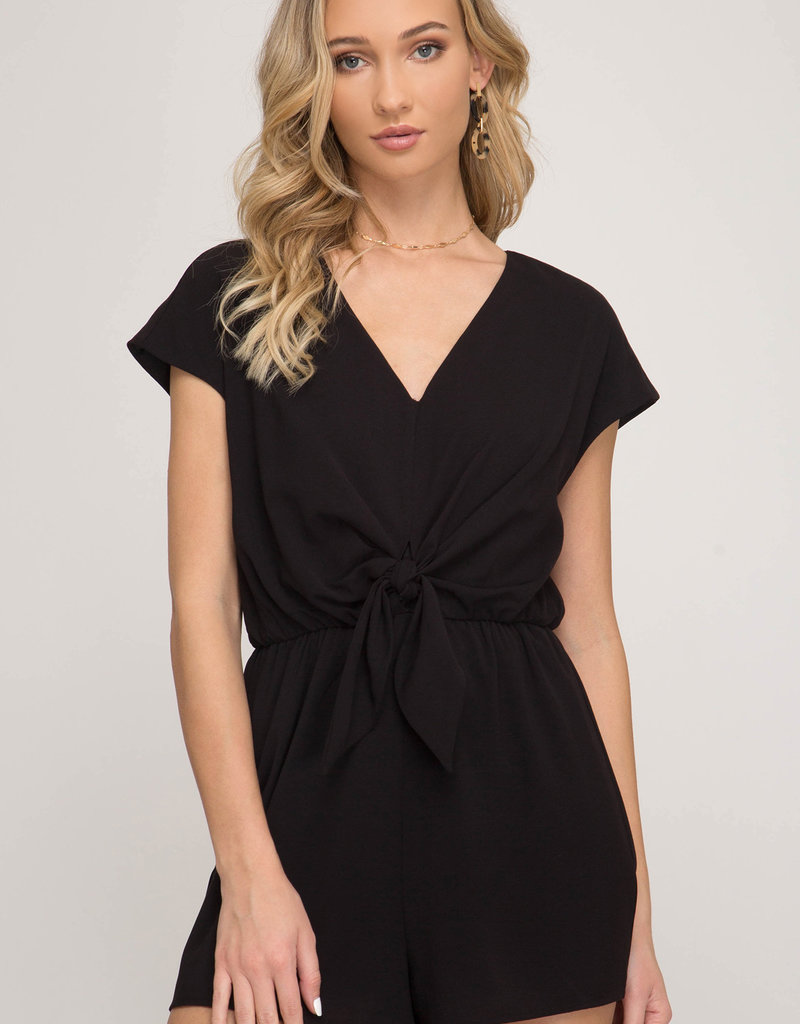 Drop Shoulder Shorts Romper w/ Front Tie
