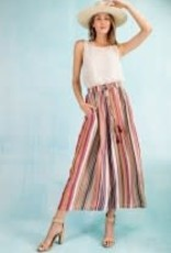 Multi Color Striped Cropped Pants
