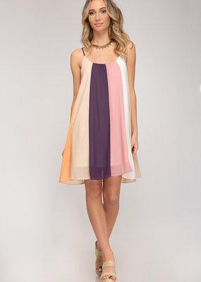 Sleeveless Summer Blocked Mini Cami Dress