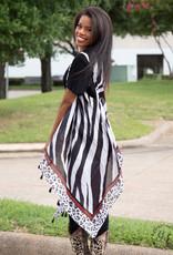 Mixing Prints Sleeveless Kimono; One Size