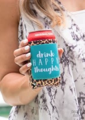 Drink Happy Thoughts-Leopard Can Cooler