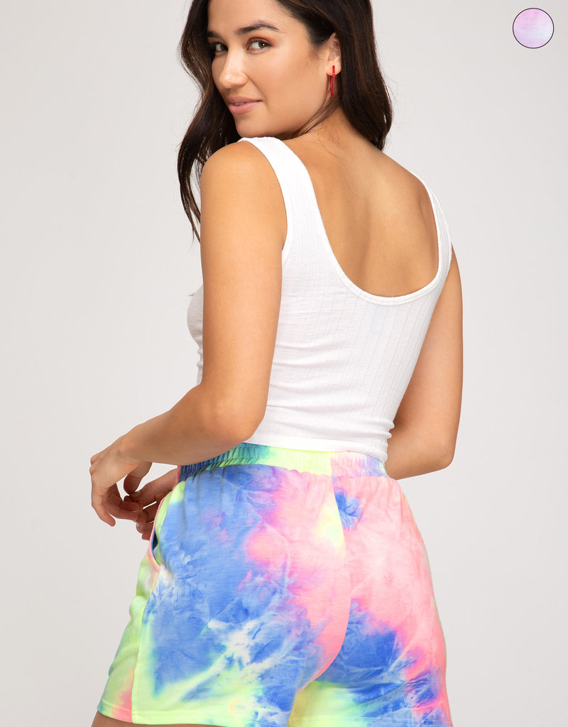 Tie Dyed Terry Knit Shorts w/ Pockets
