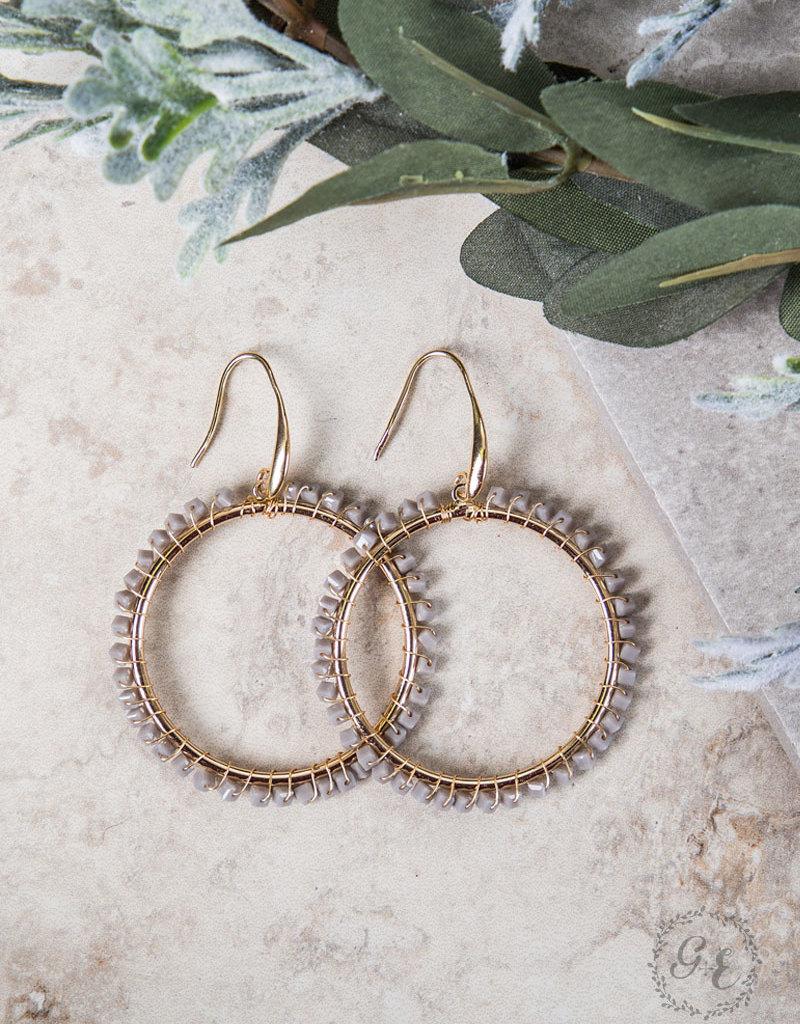Small Beaded Hoop Earrings w/ Gold