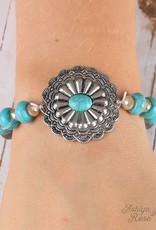 Bracelet w/ Silver Pendant and Turquoise Stone