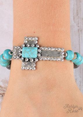 Hammered Bling Cross Bracelet