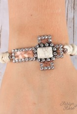 Hammered Bling Cross Bracelet