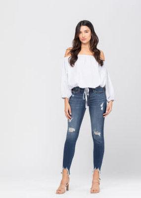 Shark Bite Hem; Destroyed Hem Skinny Jeans