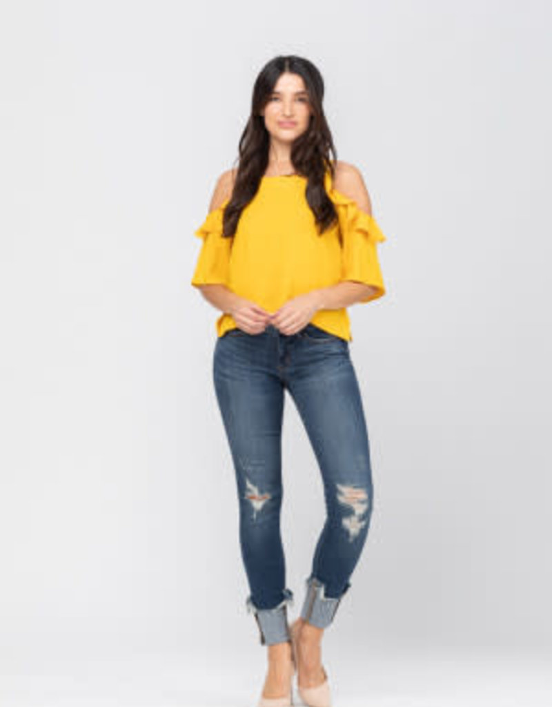 Cuffed Destroyed Hem Skinny Jeans
