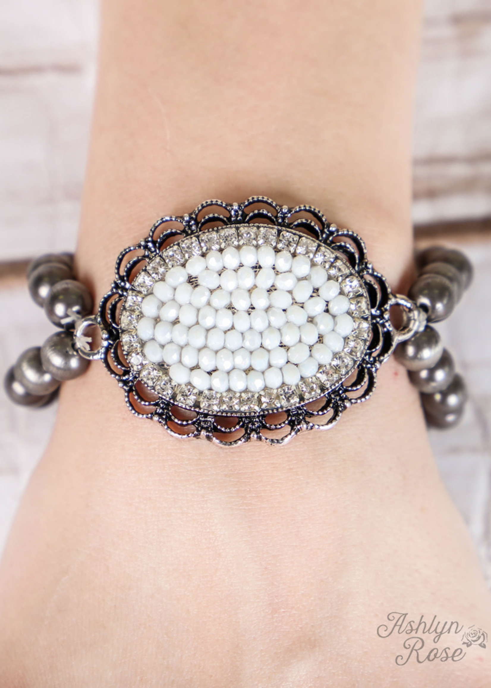 Crystal Oval Pendant on Two-Strand Silver Beaded Bracelet
