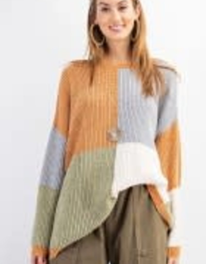 Color Block Knitted Pull-Over Sweater