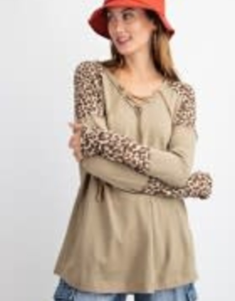 Leopard Mix ad Match Laced-Up Front Shirt