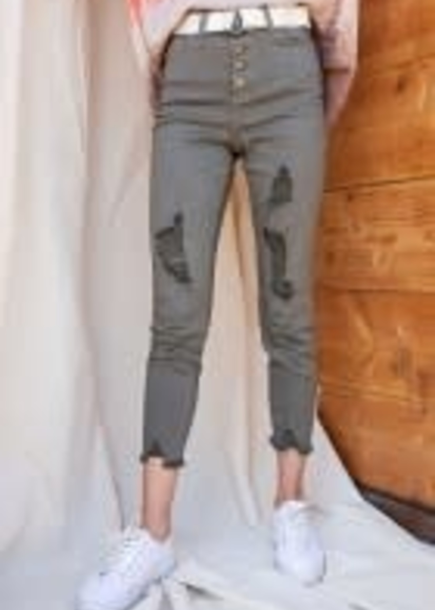 Button-Down Front Stretch Twill Self Distressed Pants