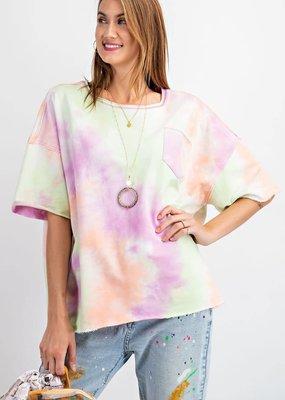 Short Sleeve Tie Dye Terry Knit Loose Fit Crop Top