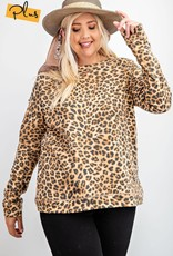 Leopard Distressed Printed Terry Pullover