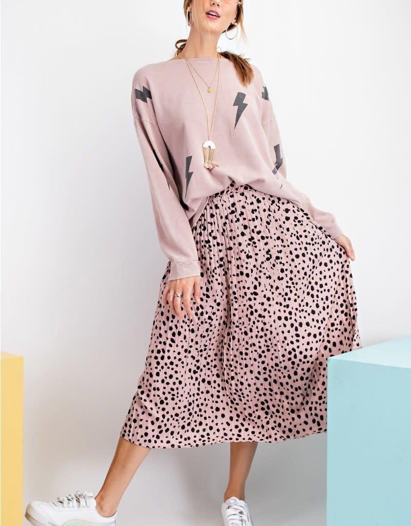 Dot Print Pleated Dress