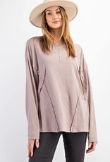 Soft Washed Cotton Slub Loosed Fit Pullover Top