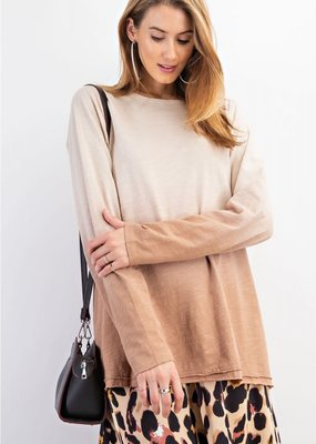 Deep Dye Cotton Slub Pullover Top