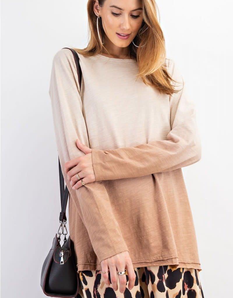 Deep Dye Cotton Slub Pullover Top